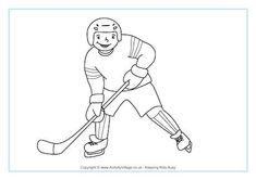 Ice Hockey Coloring Page: Winter Olympics Crafts for Kids. Olympic Idea, Olympic Sports, Olympic Games, Winter Activities, Activities For Kids, London Summer Olympics, Olympic Crafts, Penguin Day, Pyeongchang 2018 Winter Olympics