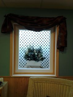 Basement window!! Are you sick of ugly window wells? Plastic lattice cut to fit, bend and put in window well!!! I decorate it to seasons. No more ugly basement window!!! We have a cover on window well to help keep clean!!