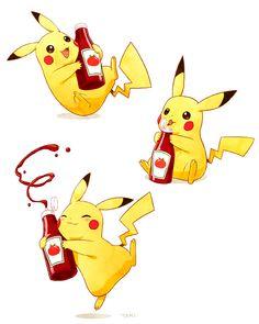 Celebrating one of my favorite Pikachu moments. Pikachu and Ketchup Pokemon Life, All Pokemon, Pokemon Fan, Pichu Pikachu Raichu, Cute Pikachu, Pikachu Ketchup, Pikachu Tattoo, Kawaii Illustration, Cute Pokemon Wallpaper