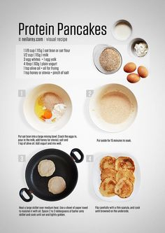 Protein pancakes are easy. You need 4 basic ingredients: milk, yogurt, eggs and ground oats. All four are rich in protein and make a great pancake mix, the trick is to let it soak. Classic pancakes are easy to make as long as you use a ton of fat. Protein Rich Breakfast, Clean Eating Breakfast, Protein Pancakes, Healthy Low Calorie Meals, Low Calorie Recipes, Healthy Eating, Healthy Recipes, Easy Cooking, Cooking Recipes