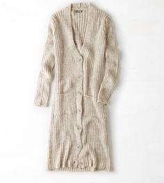 Natural Chunky Knit Sweater Coat