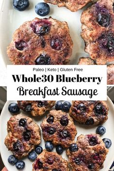 These Blueberry Breakfast Sausage patties are so easy to make. They are the perfect combination of sweet and savory flavors. They are sugar free, paleo, Keto, and friendly! Sausage Breakfast, Paleo Breakfast, Breakfast Recipes, Breakfast Ideas, Whole 30 Breakfast, Blueberry Breakfast, Gourmet Recipes, Real Food Recipes, Healthy Recipes
