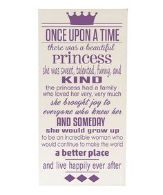 Cream & Purple 'Once Upon a Time' Wall Sign
