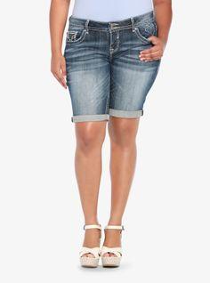 6c6a9905ffc Get a leg up on our Vigoss Denim Bermuda Shorts. Trendy Plus Size Fashion