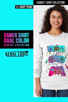 Dual Color Gaming Evolution - Gamer Shirts | A collection of gamer shirts created for gamers, YouTube gamers, Fortnite, Roblox, Panda Lovers and more. From The brands Just Gaby Gaming, Jays Xtreme Gaming, and Kenal Louis. ( Gamer Shirts, Gamer Shirt, Gamer T Shirt )#gamer #tshirts #shirts Creative Shirts, Cool T Shirts, Tee Shirts, Creative Birthday Gifts, Gamer Shirt, Youtube Gamer, Cool Graphic Tees, Tee Design, Creative Design