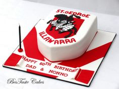 St George Illawarra nrl cake. birthday party love. Happy 60th Birthday, Dad Birthday, Birthday Cakes, Cake Push Pops, George & Dragon, Dad Cake, Dragon Cakes, Dragon Party, Love Cake