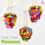 This colourful Pom Pom Pinecone craft for kids looks great! Use this nature craft to make Christmas ornaments or as pretty mobiles all year. There's even a fun idea for a colourful pinecone math game too.