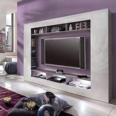 TV-Wand SPEED - weiß Hochglanz - 216x160 cm
