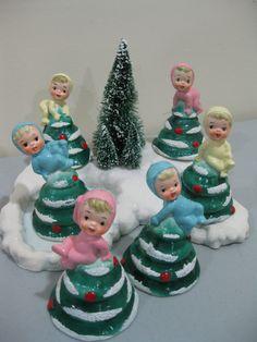 Vintage Napco Ceramic Christmas elves elf Tree Bell Lefton Norcrest