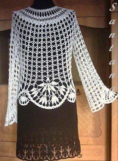 White cloak of viscose T-shirt Au Crochet, Crochet Capas, Gilet Crochet, Mode Crochet, Crochet Shirt, Crochet Jacket, Crochet Woman, Crochet Cardigan, Crochet Stitches