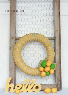 Cute Chevron Citrus Wreath via LollyJane.com