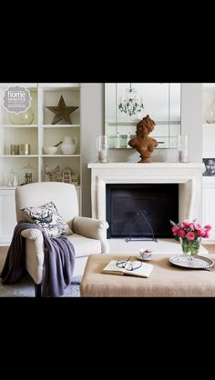 French style in Sydney A limestone fireplace from The Country Trader forms the living room's focal point beneath the elegant chandelier - Home Beautiful Decor, Home Living Room, Home, Interior, Fireplace, Room Focal Point, Classic Fireplace, Home Decor, Room