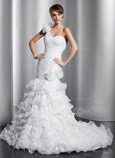 Trumpet/Mermaid One-Shoulder Chapel Train Organza Wedding Dress With Flower(s) Cascading Ruffles (002014797)