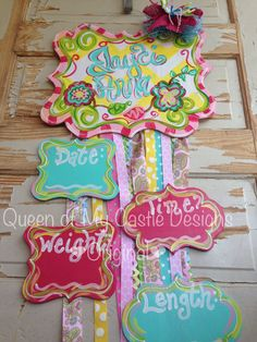 Baby Girl Birth Announcement Door Hanger and Bow Holder  - pinned by pin4etsy.com