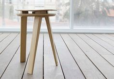 New from the industrial designer Dmitry Kirgizov, the Tension Stool is a folding design with a curved seat and three legs.Crafted from white oak wood and naturally finished, the stool has an u Supreme Furniture, Industrial Design Portfolio, French Provincial Chair, White Oak Wood, Oversized Chair, Design Furniture, Occasional Chairs, Wood Design, Design Art