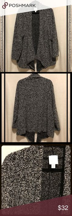 "👑🆕Plus Size Black/White Textured Cardigan NWOT Plus Size cascade front textured back/white cardigan, size 3X (30/32). Shawl collar with long sleeves. Longest length from shoulder to hem measures 34 1/2"". Length down the side from armpit to hem is approximately 18"". Sleeve length is 22 1/2"". 100% polyester. Very flattering! Great for dressing up or worn casually with a pair of jeans. Sunday Sweaters Cardigans"