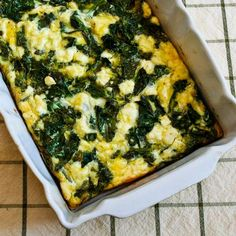Recipe for Kale and Feta Breakfast Casserole [from Kalyn's Kitchen] #GlutenFree  #SouthBeachDiet  #LowCarb