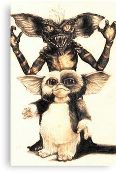 'Gizmo and Spike from Gremlins' Canvas Print by AaronBir Les Gremlins, Gremlins Gizmo, Horror Movie Characters, Horror Movies, Scary Movies, Good Movies, Gizmo Tattoo, Star Tattoos, Cultura Pop