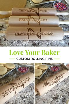Every baker needs a rolling pin and the best kind are personalized! Get a rolling pin worthy of display, but also capable of getting the job done. There are 5 exclusive designs to choose from, with options to laser engrave anything you choose. The etching will never fade or come off. Find personalized rolling pins, aprons, hot pads and so much more at qualtry.com. Cool Gifts, Diy Gifts, Fantastic Beasts Grindelwald, Rolling Pins, Laser Engraving, Engraving Ideas, Hot Pads, Baking Tips, Custom Wood