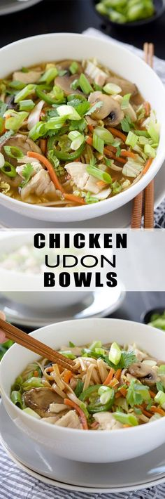 Chicken Udon Bowl | Chicken, Noodle Soups, Soup, Recipe, Winter, Broth, Easy, Spicy, Homemade, Vegetable, Healthy, Pasta, Simple