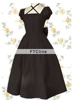 Black Bow Puff Sleeves Classic Lolita Dress Lolita Clothes