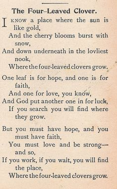 """The Four-Leaved Clover.  Poem from """"Child's Book of Recitations,"""" 1905 -- Such a sweet poem <3"""