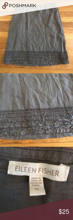 Eileen Fisher Medium Gray Linen Skirt Perfect Condition 100% linen 34 in long - beautiful design at bottom mid length Eileen Fisher Skirts Midi