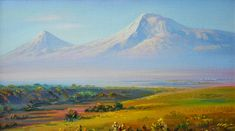 Noah's Farm on the foothills of Mt. Ararat.  This is a painting of Mt. Ararat by Armenian Artist Meruzhan Khachatryan.