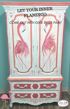 Just flamingling around at The Sandpiper Cottage😊Glenna Ritenour Eskey had a lot of fun doing this armoire in Dixie Belle Flamingo, Peony, Cotton and blending the three. Hand painted flamingos on the doors with a water color splash. Painted Furniture For Sale, Cool Furniture, Distressed Furniture, Metal Furniture, Furniture Projects, Furniture Makeover, Flamingo Art, Pink Flamingos, Decoupage