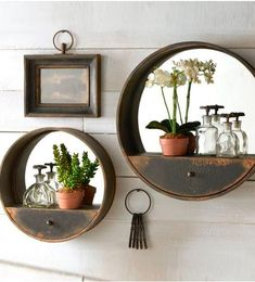 10 Adventurous Clever Tips: Standing Wall Mirror Chandeliers wall mirror decoration spaces.Wall Mirror With Shelf Front Doors gallery wall mirror vanities.Wall Mirror With Shelf Bookshelves. Wall Mirrors Entryway, Wall Mirror With Shelf, Rustic Wall Mirrors, Diy Mirror, Bathroom Wall Decor, Diy Wall Decor, Mirror Bedroom, Mirror Ideas, Bedroom Wall