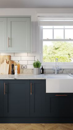 Discover the Classic Shaker Kitchen. Delicate finishes, along with simply styled doors, bring a modern edge to the Classic Shaker style. Open Plan Kitchen Living Room, Kitchen Redo, Home Decor Kitchen, Interior Design Kitchen, Home Kitchens, Navy Kitchen Cabinets, Kitchen Cabinet Colors, Shaker Style Cabinets, Kitchen Handles