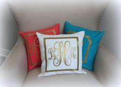 Monogram Metallic Pillow Custom Cover | CHOOSE Borders, Pillow Cover, Foil | Gold Ivory Slate Blue monogram pillow, nursery, baby, wedding by AspenLaneColorado on Etsy https://www.etsy.com/listing/195290819/monogram-metallic-pillow-custom-cover
