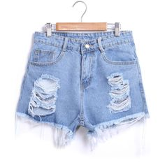 Blue Ripped Fringe Denim Shorts (120 SEK) ❤ liked on Polyvore featuring shorts, bottoms, short, pants, blue, jean shorts, short shorts, distressed high waisted shorts, high waisted ripped shorts and high-waisted shorts