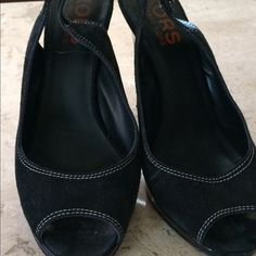 Michael Kors Black suede  platform sandals Size 12 Black suede Leather upper and patent leather heel .Heel is 4+ inches high. Size 12 in great condition.I don't see much flaws,but is preowned so there is some small wear... Michael Kors Shoes Platforms
