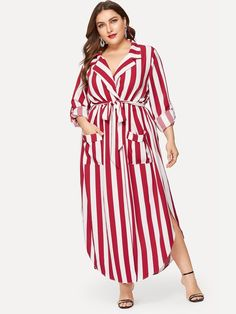 Shop Plus Pocket Front Belted Striped Dress online. SHEIN offers Plus Pocket Front Belted Striped Dress & more to fit your fashionable needs. Maxi Dress With Slit, Belted Dress, Striped Dress, Mesh Dress, Ruffle Dress, Plus Size Dresses, Plus Size Outfits, Occasion Maxi Dresses, Look Plus