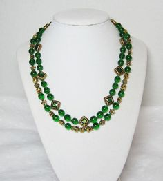 Emerald Green Double Strand Necklace Glass Beaded sixteen inch with three inch extender chain http://etsy.me/1u5KqEo via @Etsy #style #swag #emeraldgreennecklace #emeraldgreenstatementnecklace #greenstatementnecklace #greennecklace