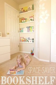 When a bookcase is too bulky, try propping books on pieces of molding. They can be cut to any length, and are narrow enough to store an entire library behind a door. Get the tutorial at Yellow Bliss Road »
