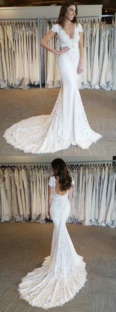 elegant mermaid v-neck wedding dresses with cap sleeves train, fashion formal wedding gowns backless.