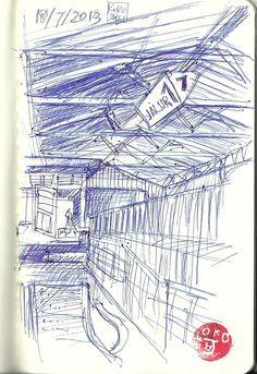 Klaten train station sketch in blue ink Train Station, Sketches, Ink, Drawings, Blue, India Ink, Doodles, Drawing, Paintings
