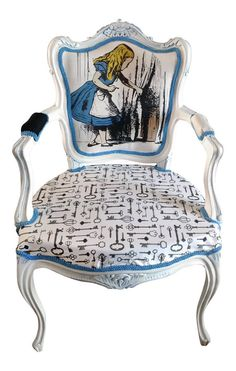 A Louis chair is a gorgeous addition to any home and this Alice in wonderland inspired chair captures the whimsical essence of the book. Featuring Alice peering through a door and a gorgeous key print fabric on the base. Painted Chairs, Hand Painted Furniture, Funky Furniture, Paint Furniture, Upcycled Furniture, Unique Furniture, Furniture Making, Furniture Makeover, Whimsical Painted Furniture