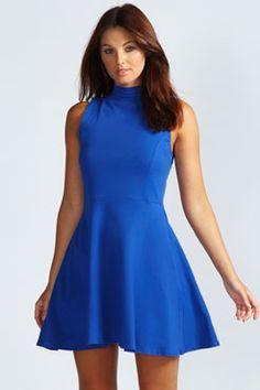 c74453ab9b Jess High Neck Sleeveless Skater Dress