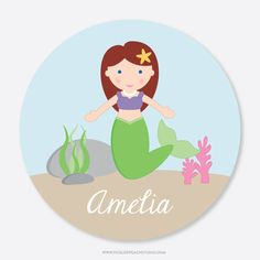 Personalized Kids Plate - Mermaid by Tickled Peach Studio | Mermaid Personalized Plate for Girl - Gift Idea for Girl