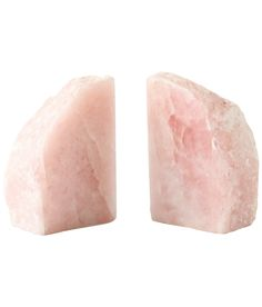 """Quartz Bookends:  These 6"""" tall quartz bookends have a subtle rosy hue and lend a natural appeal to any vignette.  $75.00"""