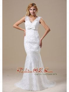 V-neck Sash and Lace Over Skirt For Wedding Dress With Mermaid Brush Train- $231.59  http://www.fashionos.com  http://www.facebook.com/quinceaneradress.fashionos.us  The bowknot on the right side of the waist .The mermaid silhouette will curve your figure and will show your well-toned shape. The open back and the button closure makes this dress special and charming, it is the dream dress for the big day!