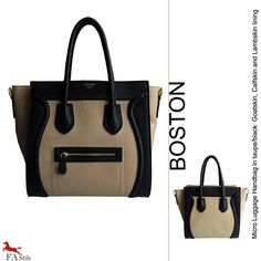 Boston Bag  Pelle Taupe e nero