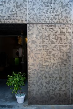 by Claesson Koivisto Rune wall surface outside in void? Perforated Plate, Perforated Metal Panel, Metal Panels, Building Skin, Building Facade, Metal Building Homes, Facade Design, Exterior Design, Interior And Exterior