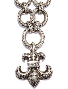 Sterling silver pavé chain necklace with Fleur de Lis pavé pendant and toggle closure. --- Retails for 50K