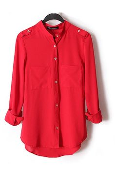Red Lapel Long Sleeves Chiffon Blouse