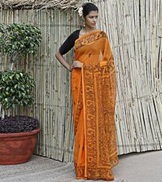 Orange Georgette Saree With Madhubani