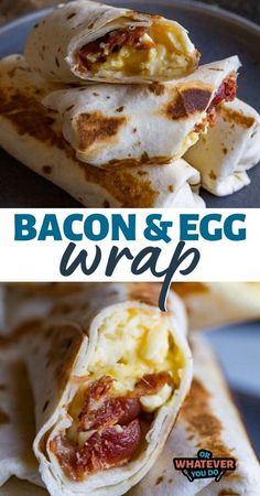 Fluffy scrambled eggs and crispy bacon are the stars of this breakfast show. Wrapped in a warm flour tortilla and then given a quick griddle, your whole family will love this easy, freezable breakfast! Breakfast Wraps, Bacon Breakfast, Quick And Easy Breakfast, Breakfast Burritos, Breakfast Dishes, Breakfast For Kids, Breakfast Recipes, Breakfast Ideas, Breakfast Club